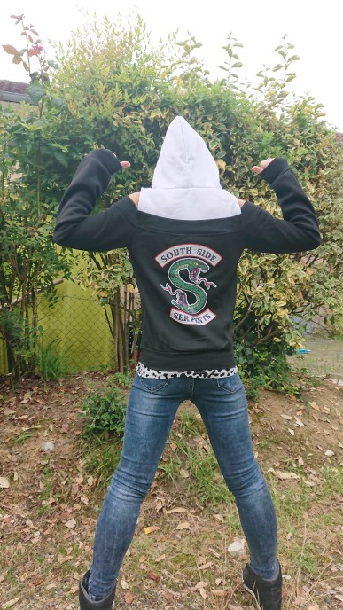 Riverdale South Side Serpents Hoodies Southside Serpents Sweatshirts Women Long Sleeve Off Shoulder Exclusive Hooded Clothes photo review