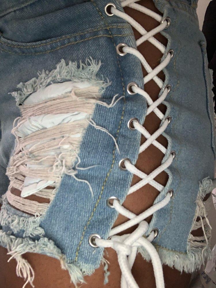 Sexy Summer Women Denim Shorts  New Black Blue High Waist Ripped Short Jeans Femme Tassel Lace Up Bandage Hotpants photo review