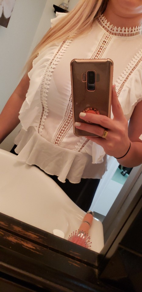 Boho White Ruffle Lace Buttoned Back Peplum Top Cap Sleeve Solid Lace Blouse Women Mock Neck Summer Workwear Blouses photo review