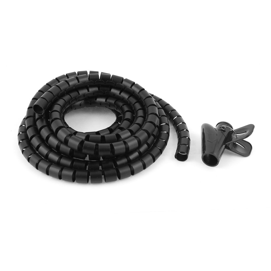 Uxcell Id 15Mm Black Spiral Bands Cable Organizer Wrap W Wire Clip .1.5m1m2m3m5m