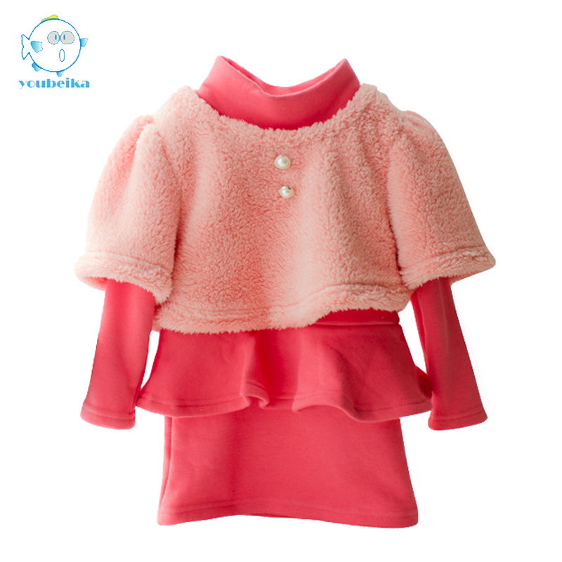 2017New Autumn Winter Girls Sets Long Sleeve Thick Velvet Children Sets Girls Kids Clothing Vest And Dress 2 Pcs Kids Clothes child suit 2015 autumn and winter children set twinset clothing plus thick velvet sets kids clothes with animal