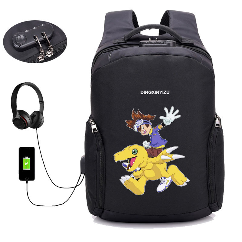 USB chargement sacs à dos d'ordinateur portable anime jeu numérique monstre sac à dos adolescent mâle Mochila voyage sac à dos école étudiant livre sac