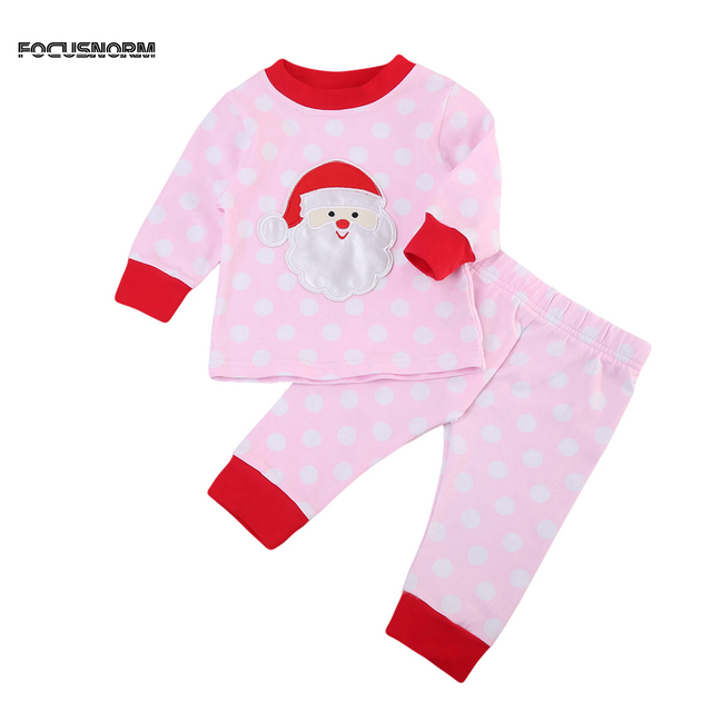 23b8eeb5eb94 Green Pink Christmas Kids Baby Girl Boy Xmas Striped Pajamas Set ...