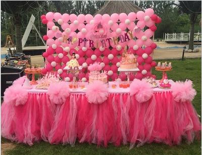 DIY Table Skirting Customize Handmade Tulle Tutu Skirt Wedding Birthday Banquet Party Decoration White Pink