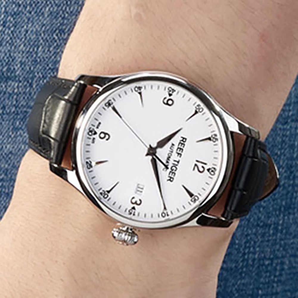 ريف النمر/RT الأعمال ساعات رجالي التلقائي فستان ساعة الفولاذ المقاوم للصدأ التمساح حزام ساعة مع تاريخ RGA823