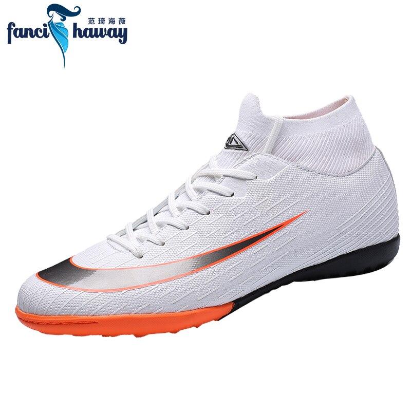 38f107be Купить FANCIHAWAY мужские бутсы высокие ботильоны Superfly TF футбольные  бутсы Futsal Turf тренировочный носок бутсы Chuteira Futebol Цена Дешево