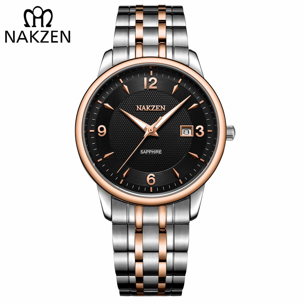NAKZEN Men Watches Top Brand Luxury Clock Male Stainless Steel Casual Quartz Watch Mens Sports Wristwatch relogio masculino nakzen diamond men watch luxury brand sapphire watches mens stainless steel black gold wristwatch male clock relogio masculino