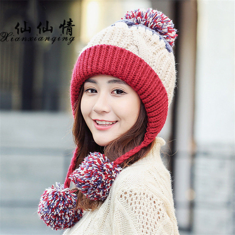 XIANXIANQING 2017 Winter Women Hat Hit Color Lady Beanie High Fashion Caps Solid Hats Womens Faux Knitting Wool Cap Grey m8522 the new children s cubs hat qiu dong with cartoon animals knitting wool cap and pile