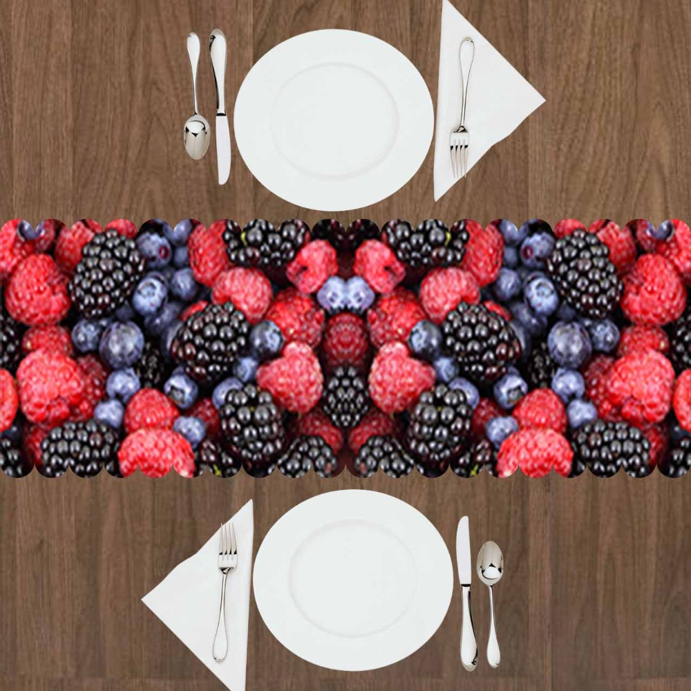 Else Black Grapes Red Strawberry Tropical Fruits 3d Print Pattern Modern Table Runner  For Kitchen Dining Room Tablecloth