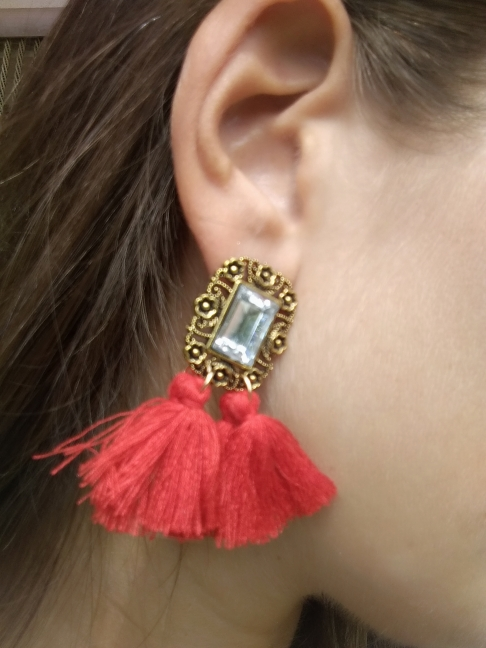 Bohemian Silk Fabric Tassel Earrings photo review