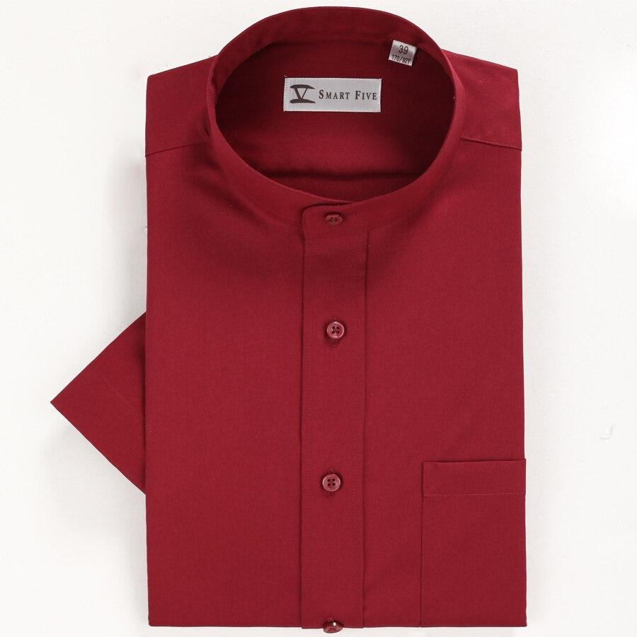 2018 Herren-sommerkleidung Wein Roten Stehkragen Kurzarm Hemd 100% Baumwolle Party Formale Shirts Slim Fit Weiß Rot Shirts ZuverläSsige Leistung