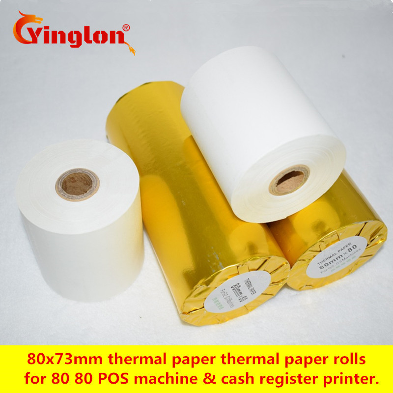 Купить с кэшбэком 2 rolls/lot 80*80 EFTPOS machine actual diameter 73mm 80x73mm single layer thermal paper roll for cash register paper pure wood