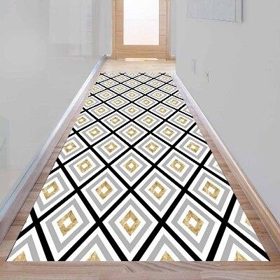Else Aztec Bohemian Gray Black Yellow Lines 3d Print Non Slip Microfiber Washable Long Runner Mat Floor Mat Rugs Hallway Carpets