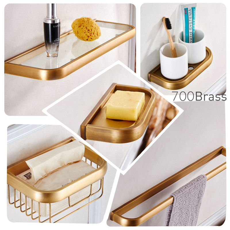 European Style Brass Brushed Bathroom Accessories Set Antique Shower Basket Toilet Paper Towel Holder Shelf Bathroom Hardware luxury european brass bathroom accessories bath shower towel racks shelf towel bar soap dishes paper holder cloth hooks hardware page 3