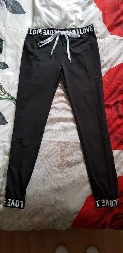 Black Fitness Letter Print Drawstring Workout Elastic Casual Leggings Autumn Sporting Women Fashion Pants photo review
