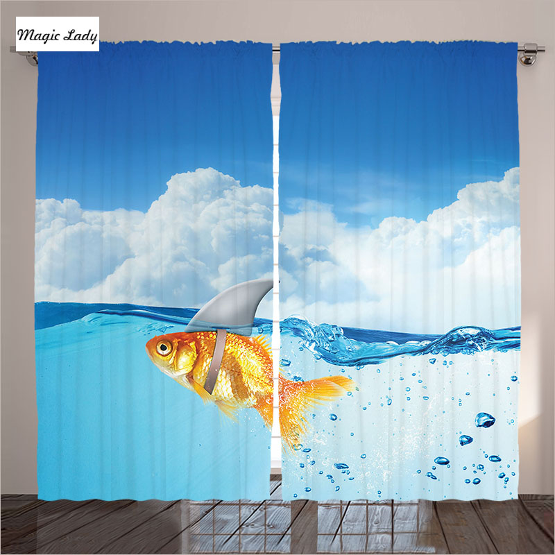 Curtains Navy Blue Living Room Bedroom Goldfish Swimming