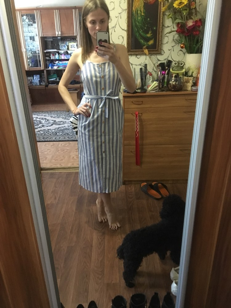 Button Front Vertical Stripe Cami Dress Spaghetti Strap Sleeveless Knee Length Dresses Women Summer Casual Dress photo review