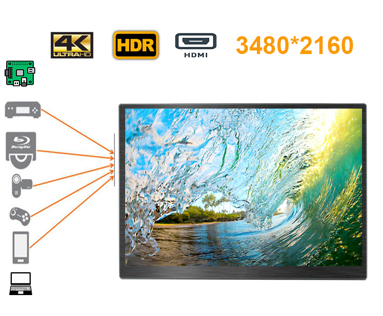 18.4 polegada 4 K 3480*2160 monitor LCD de tela iDeal para Xbox, PS, estação de interruptor, raspberry pi, o windows mini pc, projetor, dvd etc
