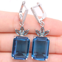 SheCrown Elegant 18x13mm London Blue Topaz Natural CZ Gift For Sister Silver Earrings 44x13mm