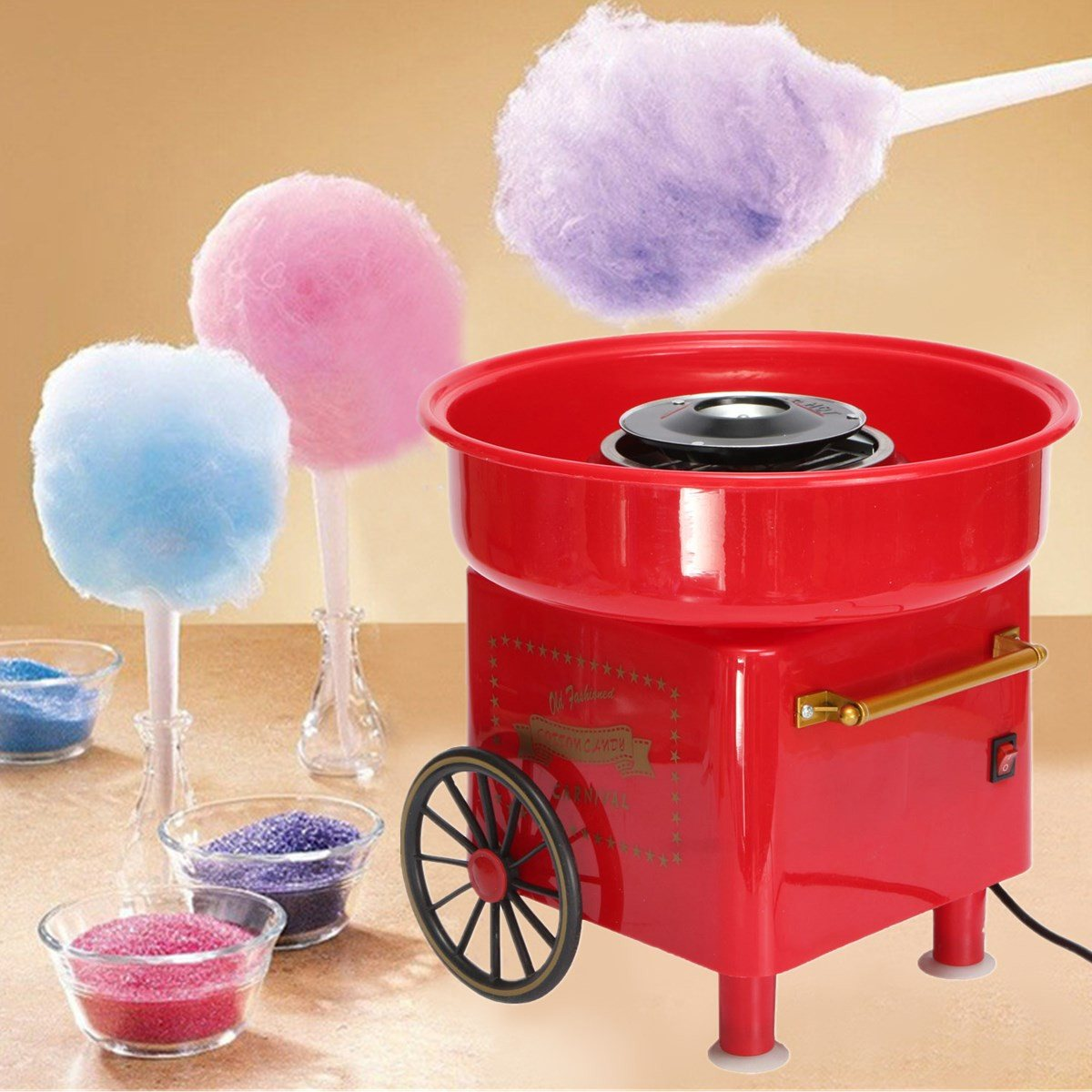 Vintage Electric Mini Home Diy Cotton Candy Floss Machine Cotton Sugar Spun Candy Maker Device Home Party Carnival Kids Gift