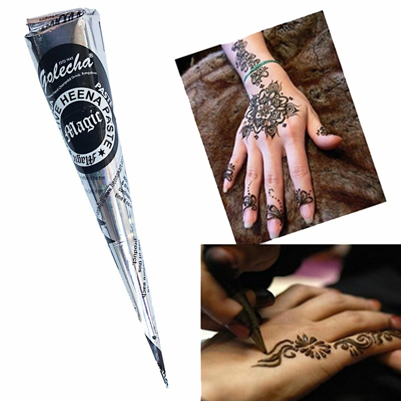 6f75863a0d66f 25g Natural Black Indian Henna Tattoo Paste Cones Pigment For Temporary  Tattoo Drawing 12pcs Sticker Mehndi Body Art Paint-in Temporary Tattoos  from Beauty ...