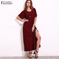 ZANZEA S 5XL Women 2017 New Loose Summer Short Sleeve Side Slit Sexy Lace Up Party