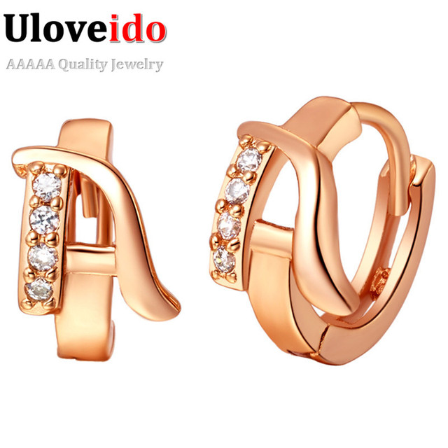 A~Z English Letters Cubic Zirconia Jewelry Stud Earrings for Women 2017 Fashion Jewelry Rose Gold Color Earring 15% off R584