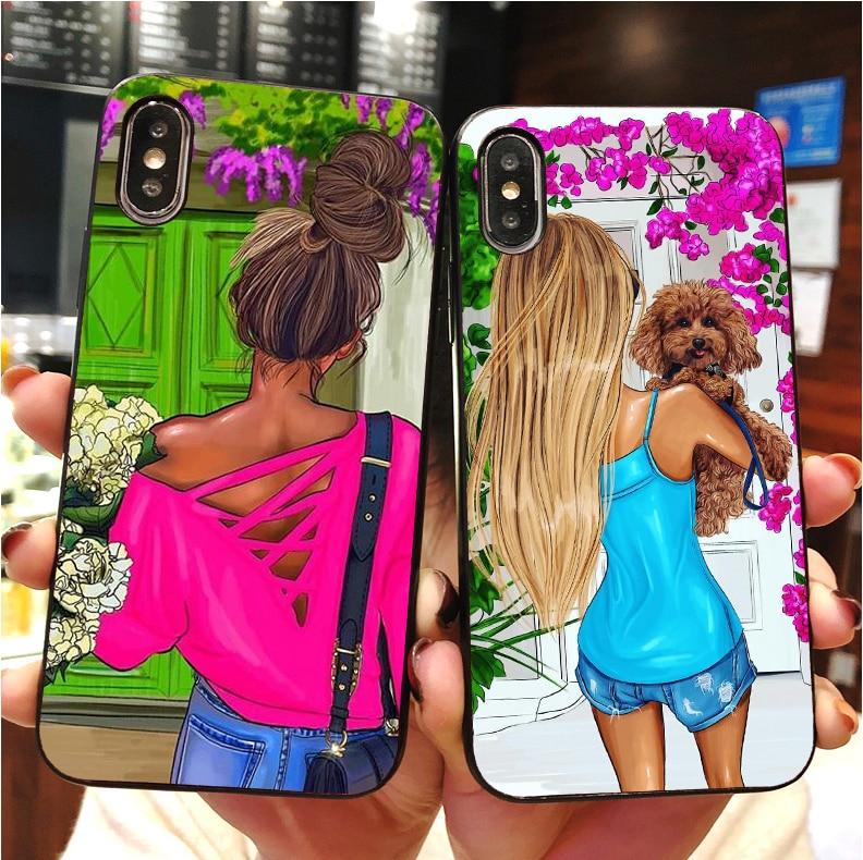 Das Beste Modische Stadt Weibliche Weiß-kragen Fall Für Iphone Max Xr Xs X10 5 6 6 S 6 7 8 Plus Weiche Tpu Schwarz Braun Haar Baby Mama Mädchen