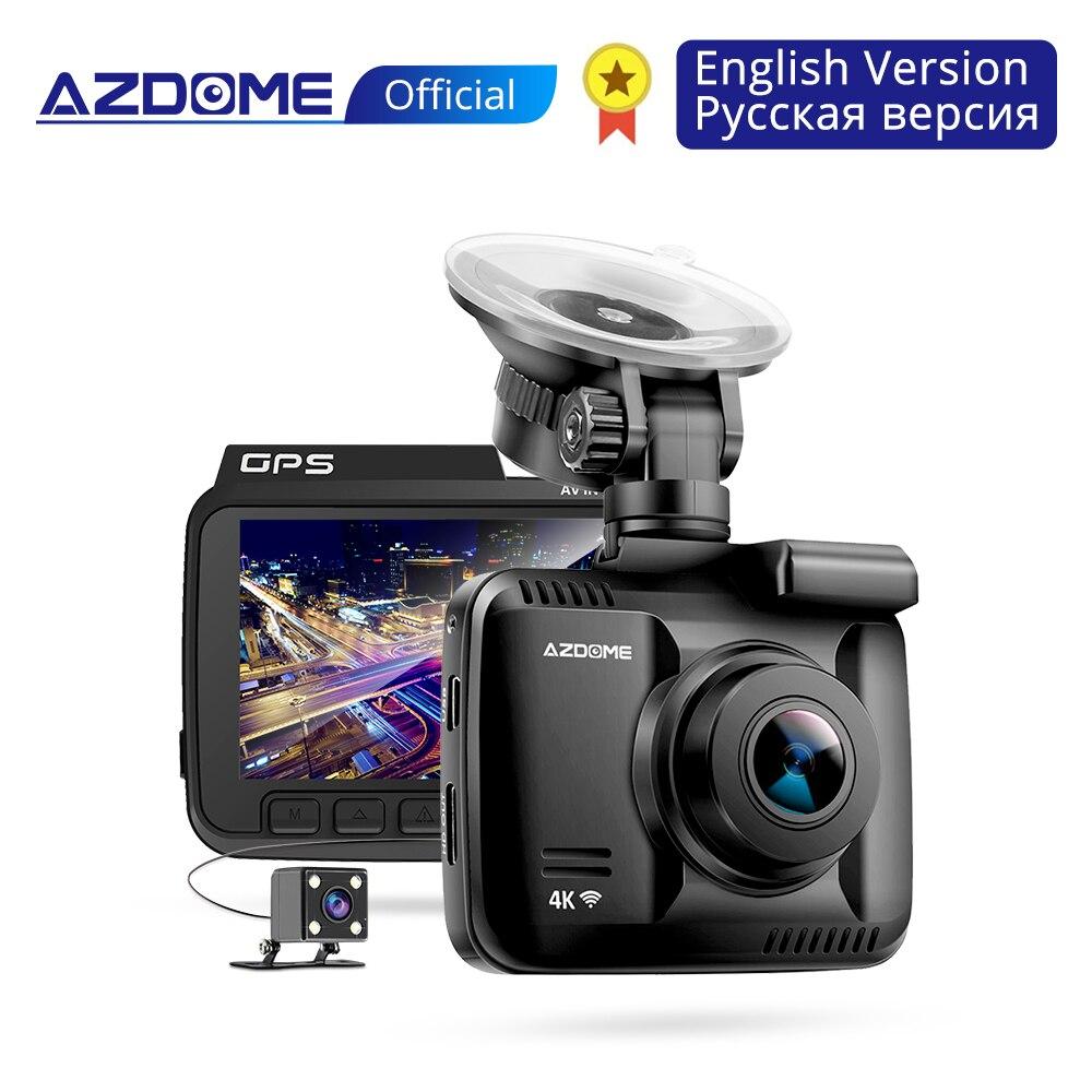 AZDOME GS63H 4K Construido en GPS WiFi Dash Cam Lente doble DVR para automóvil Cámara de visión trasera del vehículo Cámara de visión nocturna Dashcam Monitor de estacionamiento 24H