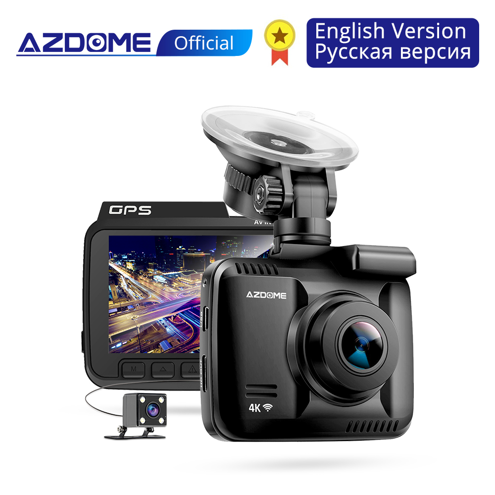 Azdome GS63H 4 K Built In GPS WIFI Mobil DVR Dash Cam Lensa Ganda Kendaraan Belakang Kamera Camcorder malam Visi Dashcam