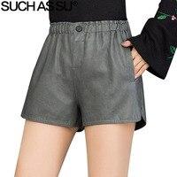New Casual Short Pants Women Autumn Winter 2018 Black Gray Elastic High Waist Zipper Button Slim Sexy Female PU Leather Shorts