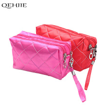 QEHIIE Classic Red Cosmetic Bag high Quality Double Zipper Clutch Mini Beauty Pouch Organizer Travel Essential  Phone Makeup Bag
