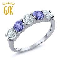 1 02 Ct Sky Blue Aquamarine Blue Tanzanite 925 Sterling Silver Wedding Band Ring