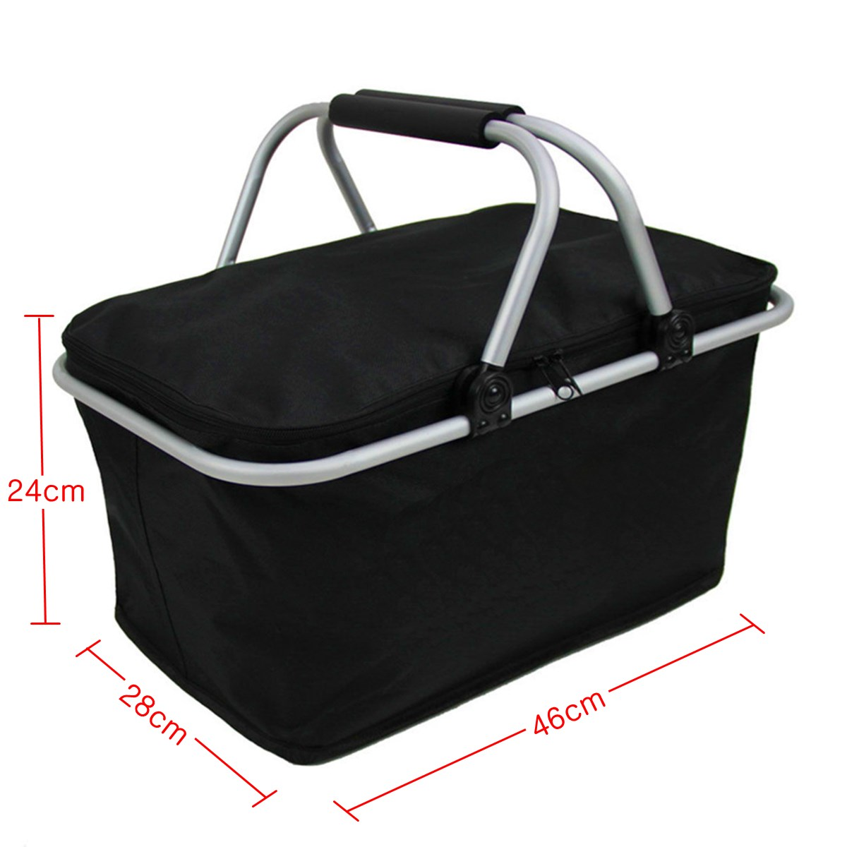 30L Picknickkörbe Isolierte 600D Oxford Schwarz Folding Outdoor ...