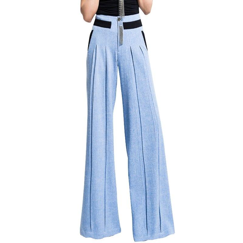 Bleu Blue La Occasionnel Grande Taille Jambe Femmes Lâche 3xl Pantalon Coton Plus 2018 Large Haute Automne E04xH4wZq6
