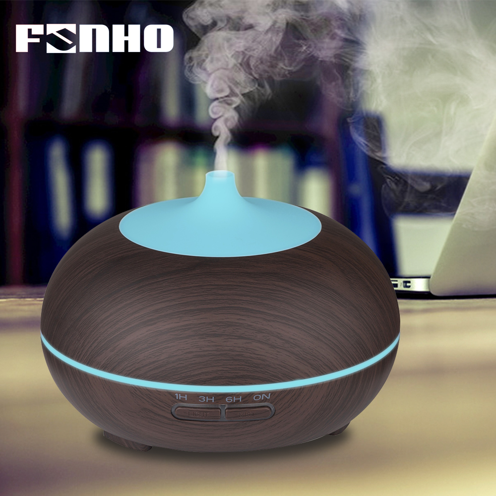 FUNHO 400ml Humidifier Aroma Essential Oil Diffuser Ultrasonic Air Humidifier with Wood Grain LED Lights for Office Home 024 цена