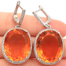 Big 17.5g Oval Gemstone 22x18mm Golden Yellow Citrine White Cubic Zirconia Womans Party Silver Earrings 40x20mm