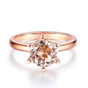 Peacock Star 14K Rose Gold Bridal Wedding Engagement Classic Solitaire Ring 1.2 Ct Peach Morganite 6 Claws Prong 1