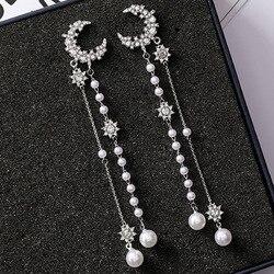 AOMU 새로운 S925 실버 핀 스파클링 크리스탈 스타 달 모조 다이아몬드 드롭 귀걸이 술 긴 진주 디자인 여성 파티 귀걸이