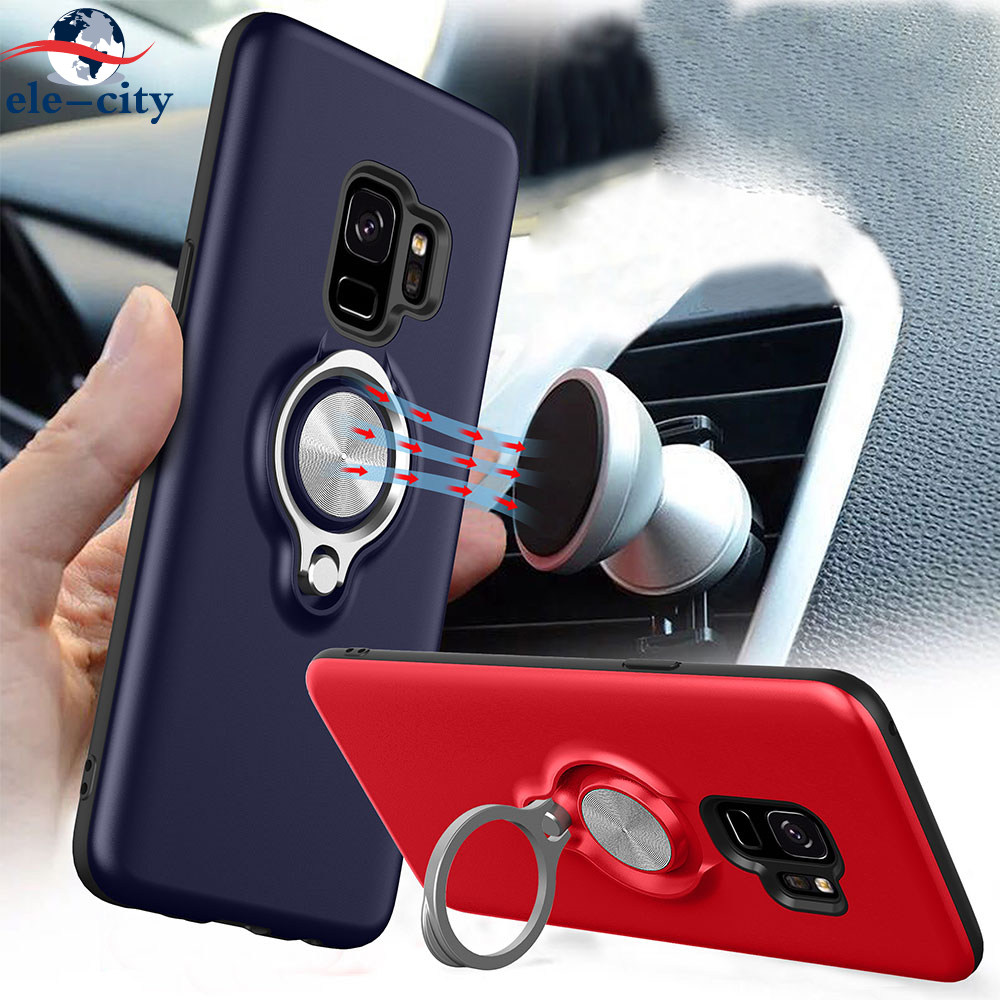 2018 Business Material Phone Case Cover WarWolf Series Fitted Case Ring Holder Stand Metal Sheet for Samsung Galaxy S9 S9 Plus
