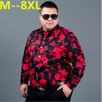10XL 8XL 6XL 5XL 4XL autumn flower printed long sleeve shirts men camisa male Loose flower shirts vintage Linen Casual Men Shirt
