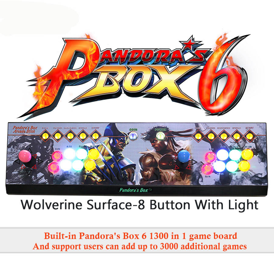Pandora's box 6 <font><b>1300</b></font> in <font><b>1</b></font> game arcade console usb joystick 8 buttons with light <font><b>2</b></font> players control machine pandora box to TV image