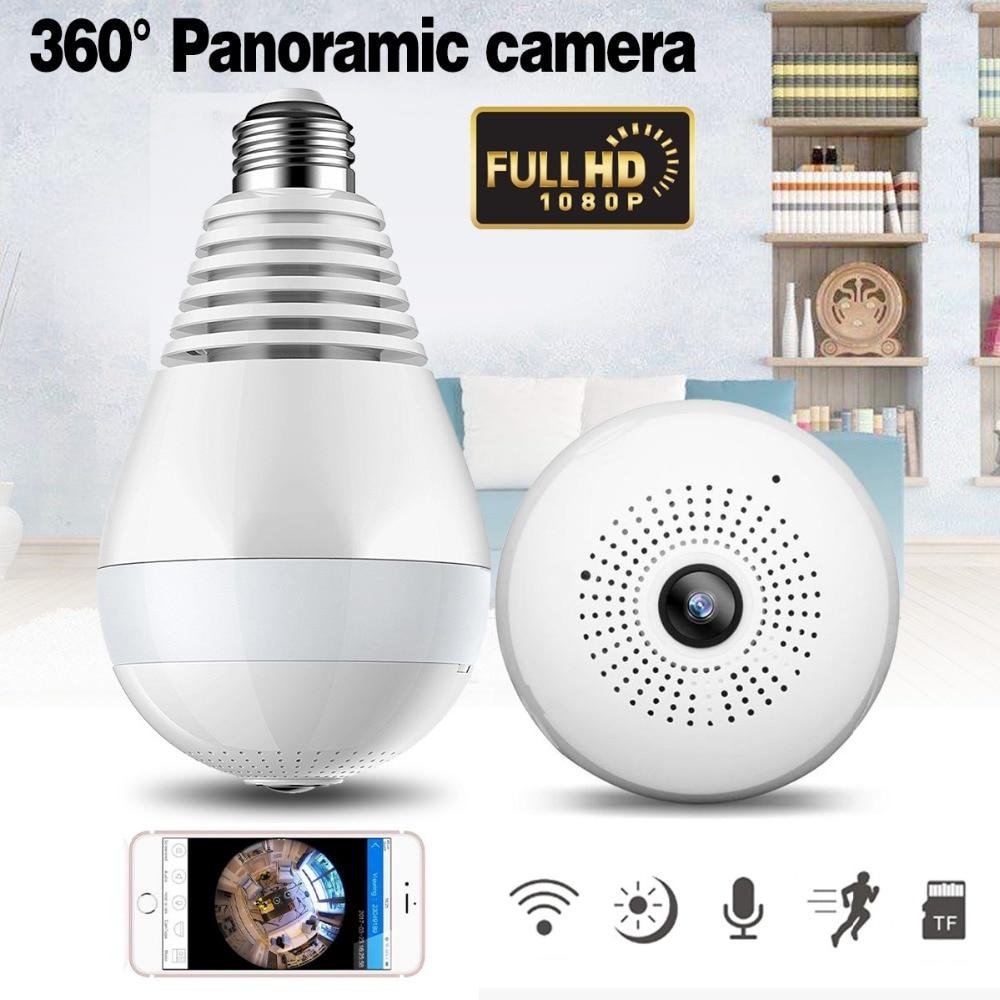 1080 p Wireless IP Kamera Lampe Licht Lampe 360 grad FishEye Panorama Hause Kamera 1.3MP Nachtsicht Sicherheit P2P WiFi kamera