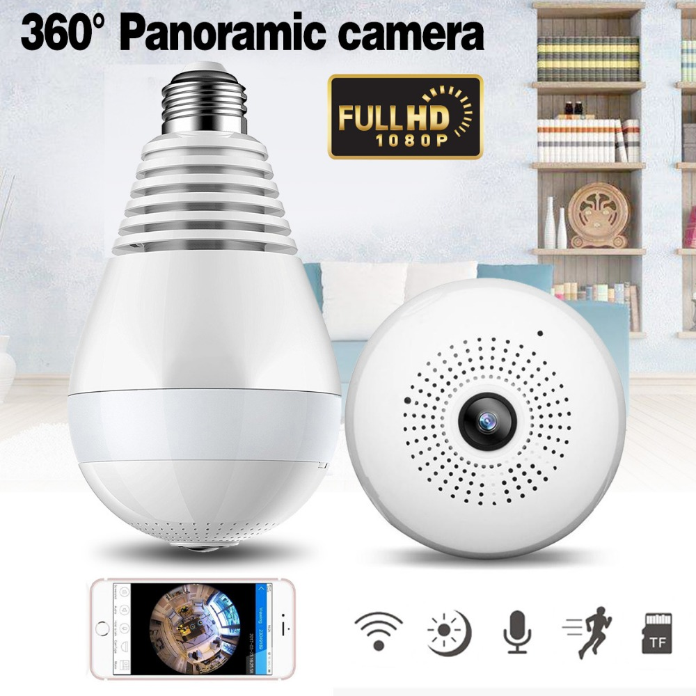 1080P Wireless IP Camera Bulb Light Lamp 360 degree FishEye Panoramic Home Camera 1.3MP Night Vision Security P2P WiFi Camera
