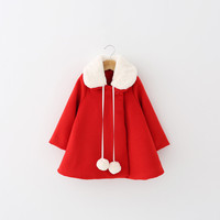 Winter Fashion Children Girl Red Outwear Loose Leisure Long Wool Coat For 3-7Y Girls Child Girls Clothes Trench Coats