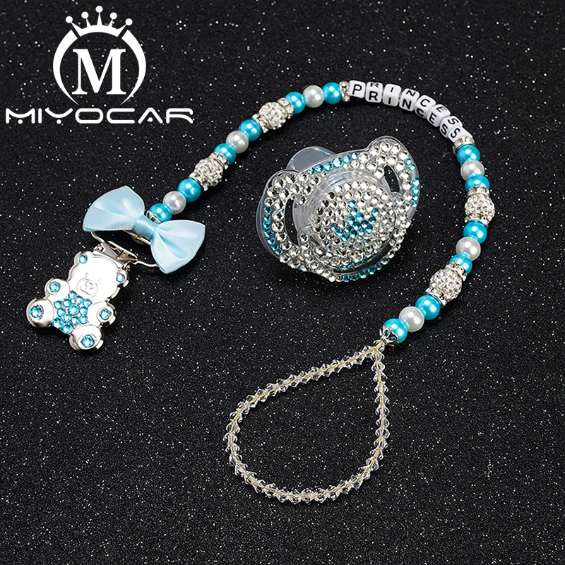 MIYOCAR Custom Name Bling Bear Pacifier Clip Personalized Pacifier Holder Dummy Clii With Bling Pacifier Set Unique Gift SP005