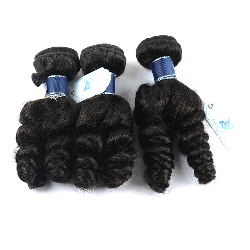 Remy Blue Hair 3 Loose Wave Bundles Peruvian Human Hair Weave Extensions Natural Color Black Remy Hair Bundles Deals No Shedding