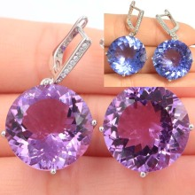 Charming Color Changing Alexandrite & Topaz CZ Ladies Party Silver Earrings 35x20mm