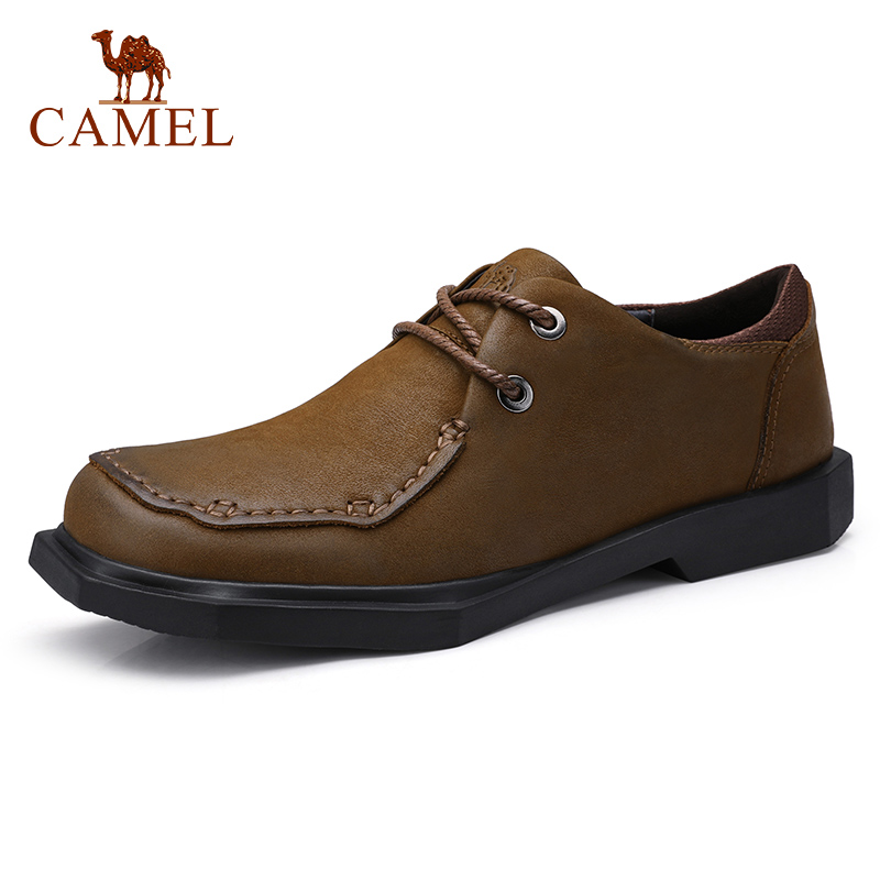 CAMEL Youth Retro Men's Casual Shoes Soft Man Loafers  Non-slip Work Shoes Genuine Leather Shoes Men Rubber Sole