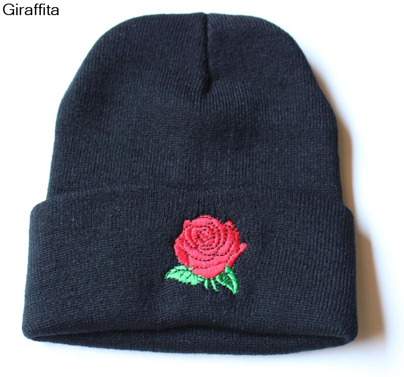 Women Winter Wool Knitted Beanies Rose Embroidery Applique Crochet Hat Braided Cap Snow Casual Hats For Women
